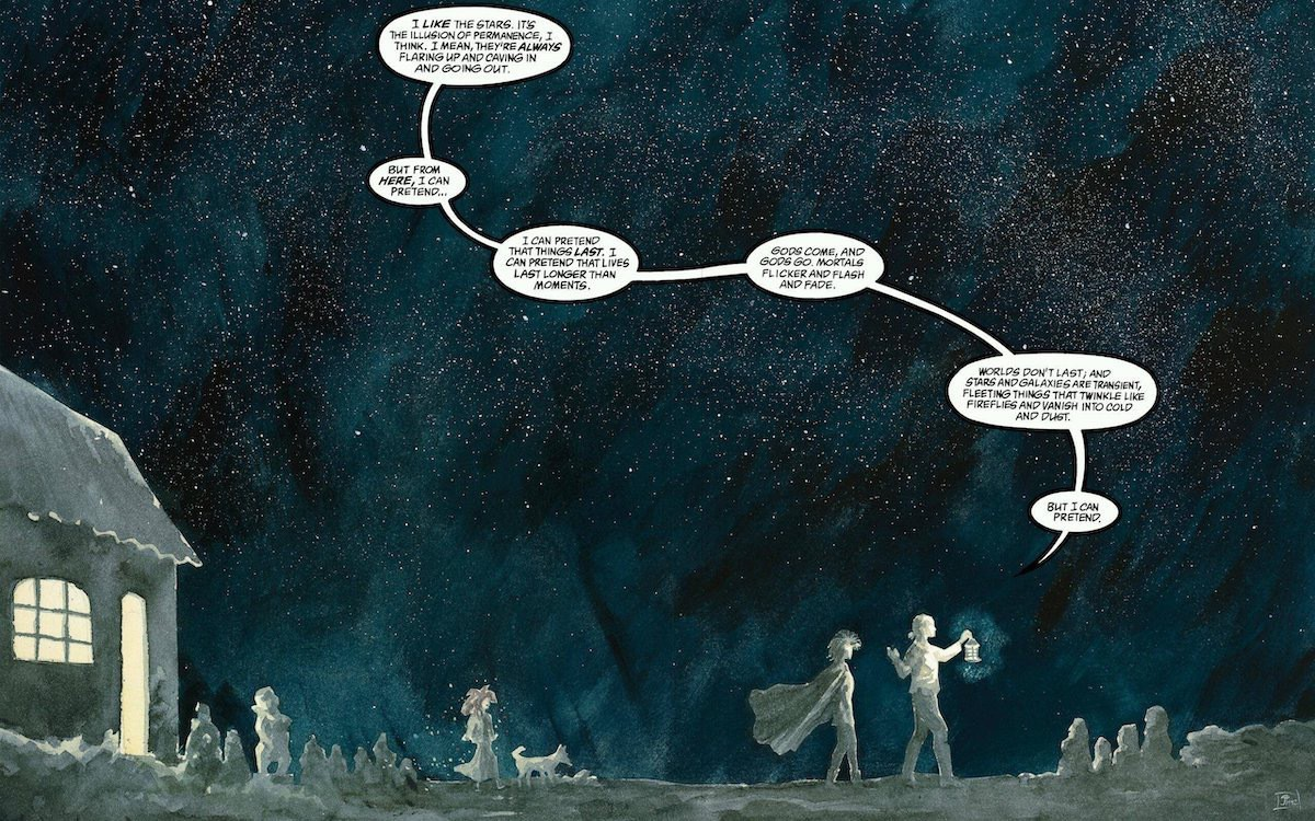 A panel from The Sandman #48, in the collection Brief Lives 8: Journey's End. One person with a light leads another with a cape from a cottage at night, with the sky looming behind them filled with stars.