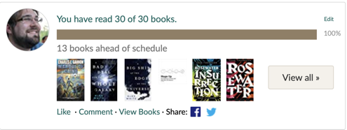 I have read 30 of 30 books this year