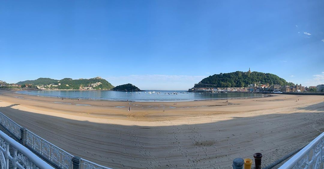 Panoramic image of beach in a bay.