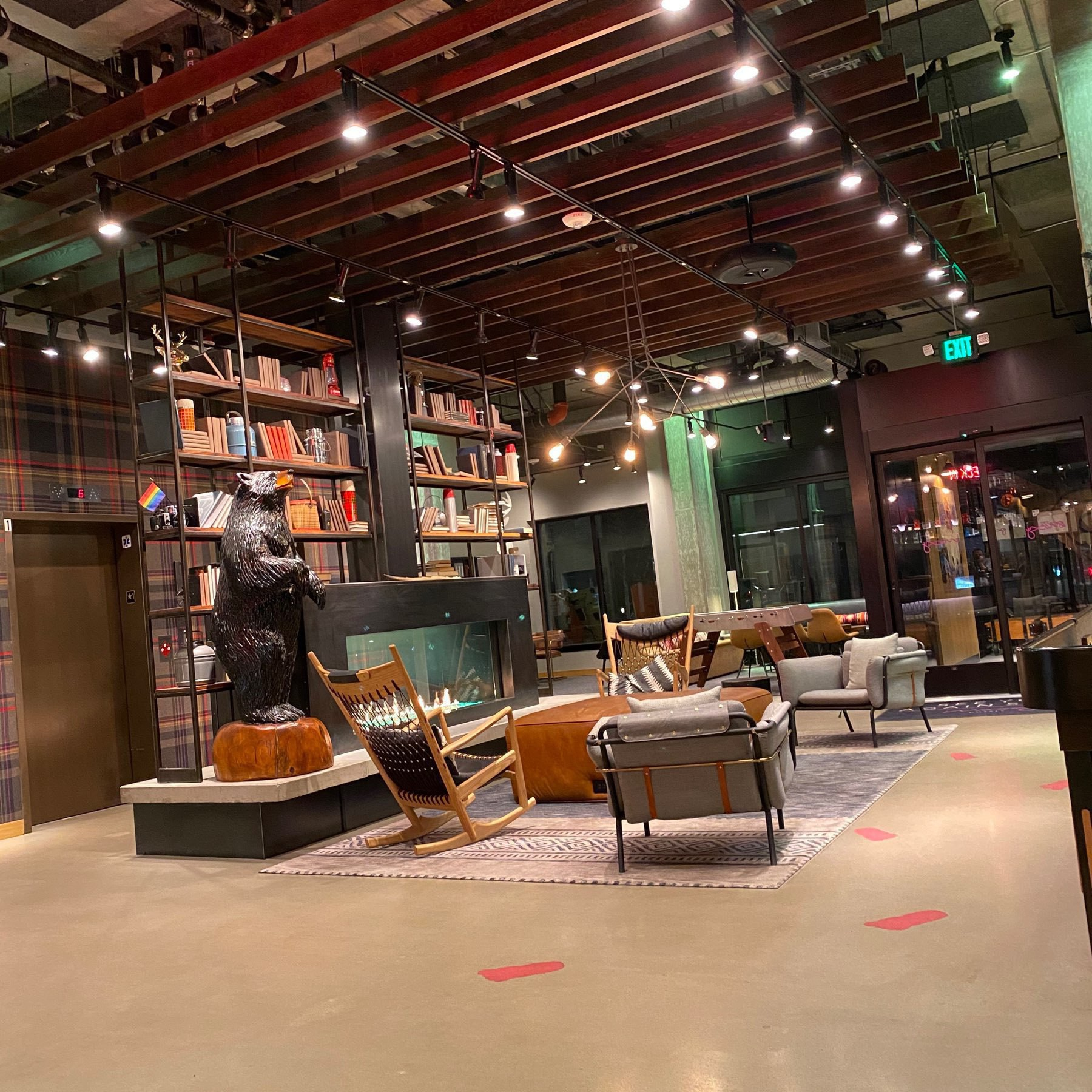 Moxy Hotel library in downtown Seattle