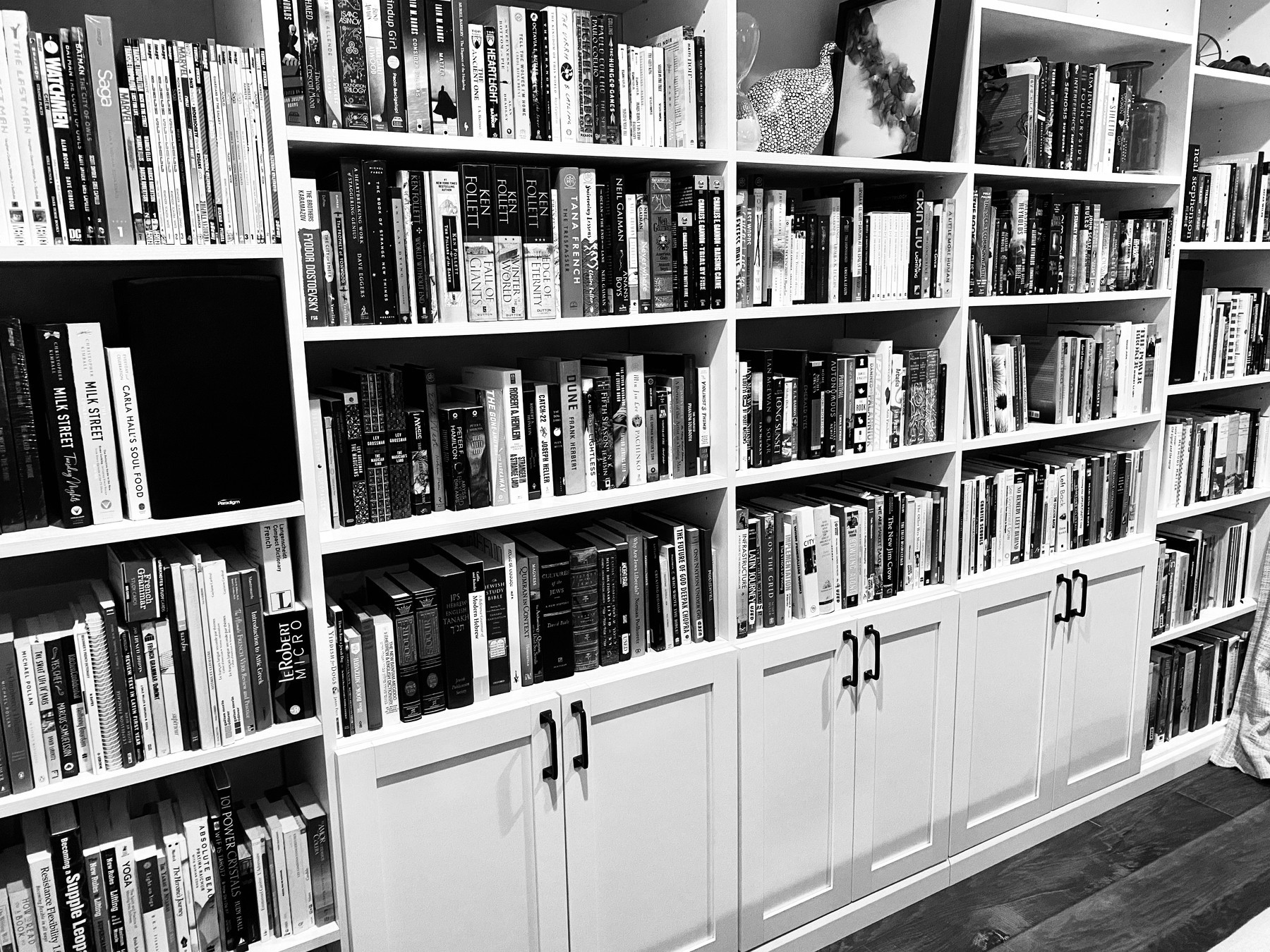 Black and white photo of our built-in bookshelves.