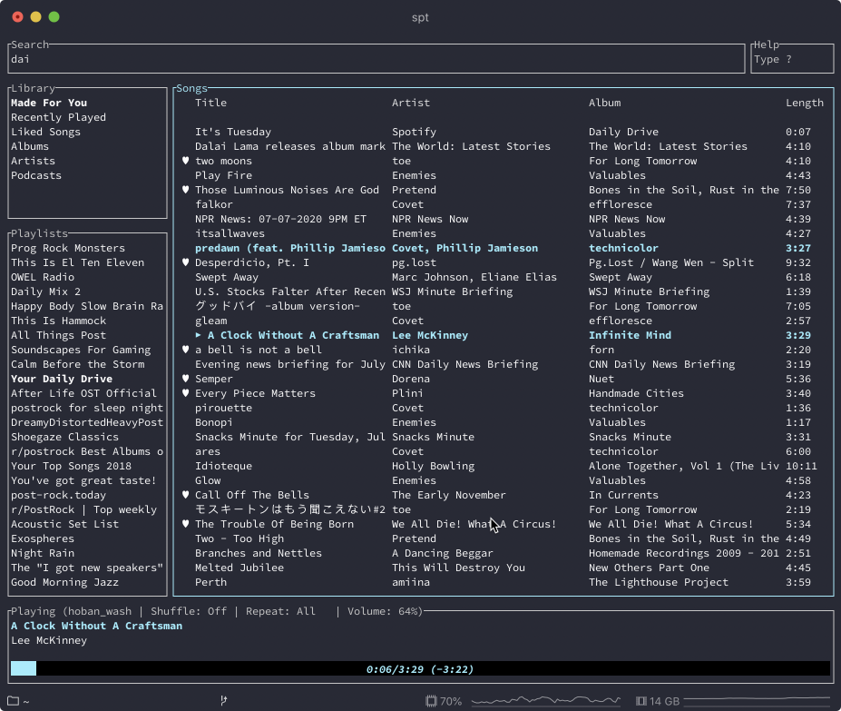 spotify-tui interface in iterm