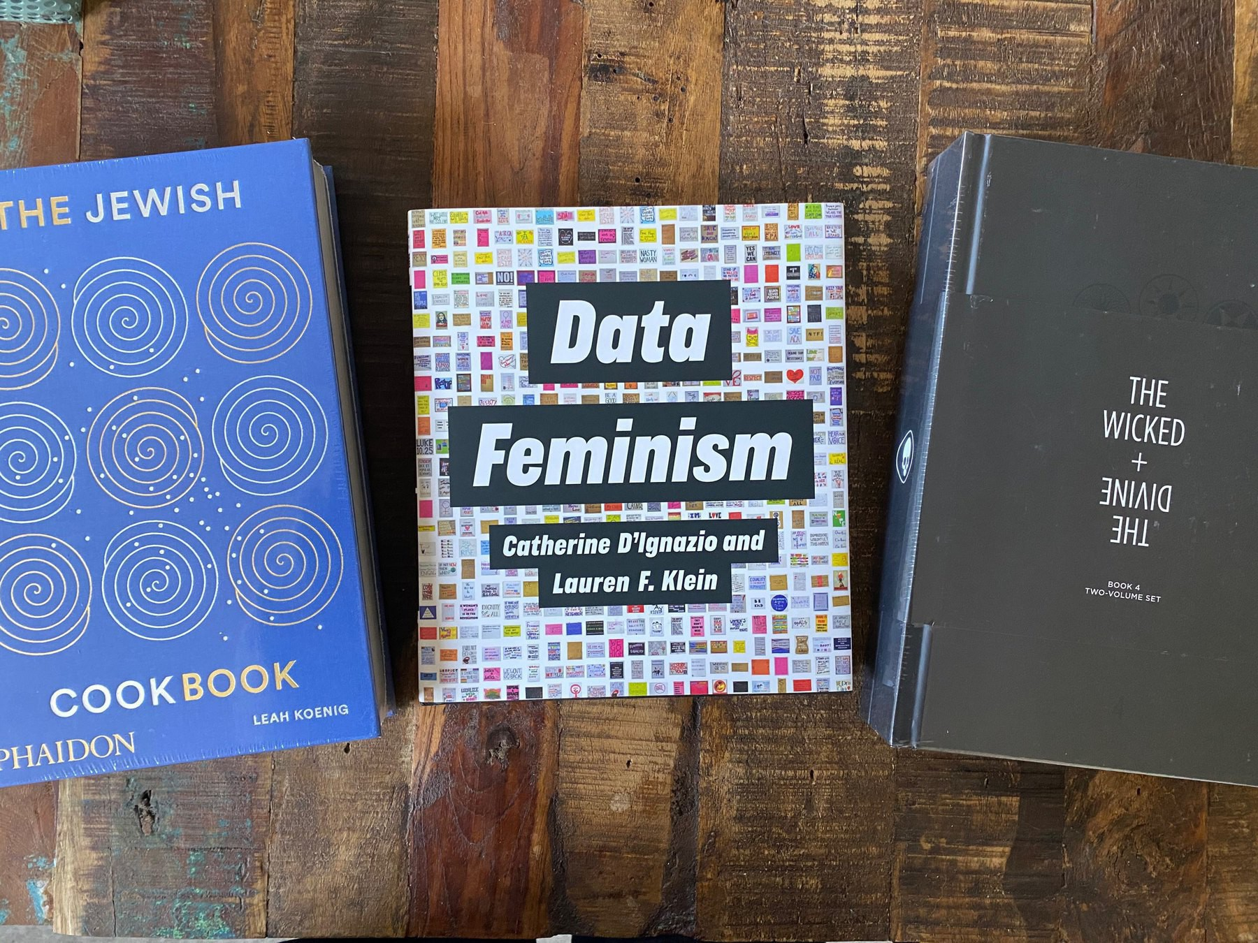The Jewish Cookbook by Leah Koenig, Data Feminism by Catherine D'Ignazio and Lauren F. Klein, and The Wicked + The Divine Book 4, Two-Volume Set